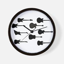 Rock Guitar Silhouettes Wall Clock
