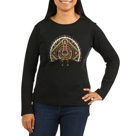 Fall Turkey Women's Long Sleeve Dark T-Shirt