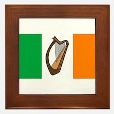 Irish Flag With Harp Framed Tile
