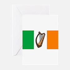 Irish Flag With Harp Greeting Cards