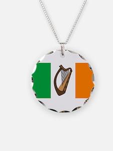 Irish Flag With Harp Necklace