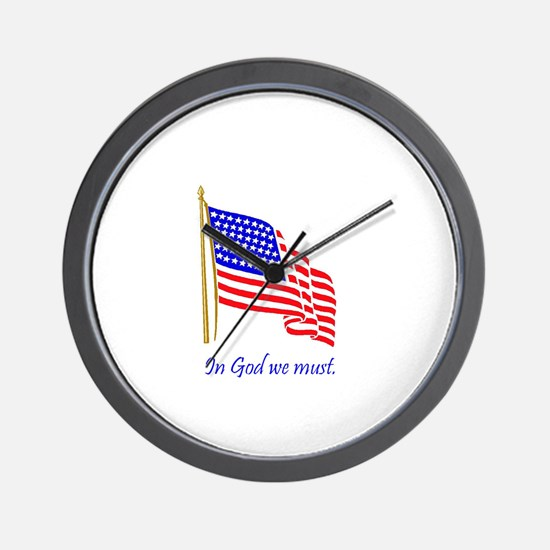 In God we must.JPG Wall Clock