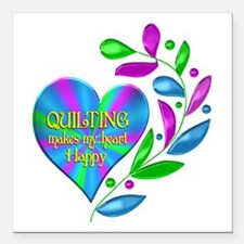 """Quilting Happy Heart Square Car Magnet 3"""" x 3"""""""