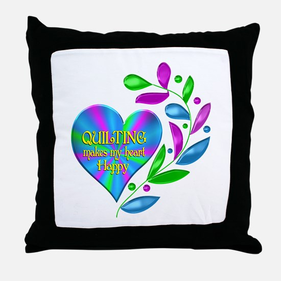 Quilting Happy Heart Throw Pillow