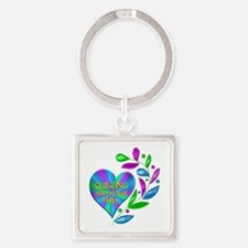 Quilting Happy Heart Square Keychain