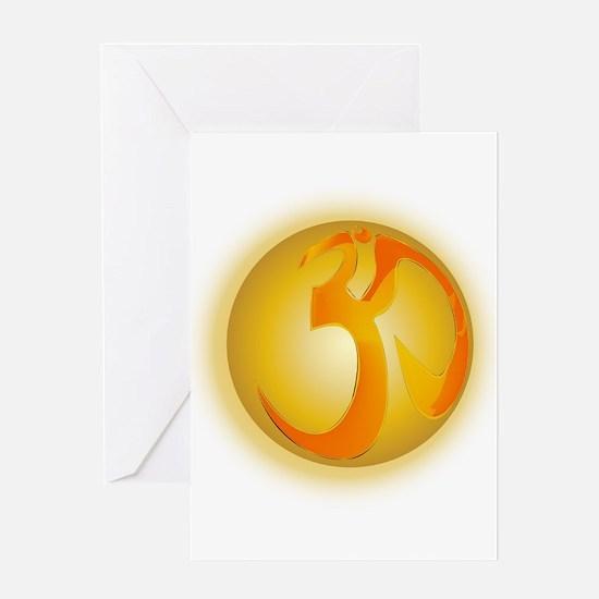 Om Globe Greeting Cards