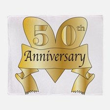50th Anniversary Heart Throw Blanket