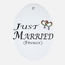 Just Married (Finally) Lesbian Pride Oval Ornament