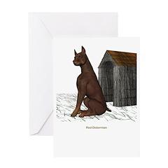 Red Doberman Greeting Card