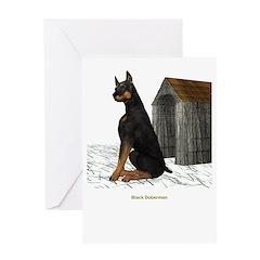 BlackDoberman Greeting Card