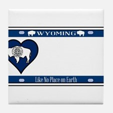 Wyoming State License Plate Tile Coaster