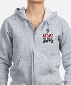 Badass Foot Surgery Survivor Zip Hoodie