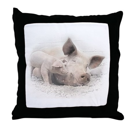Pig Happy Throw Pillow