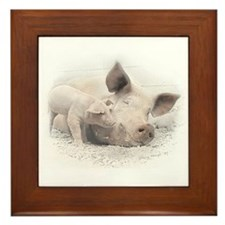 Pig Happy Framed Tile