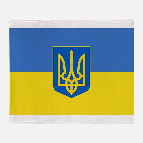 Ukrainian flag, trizub Throw Blanket