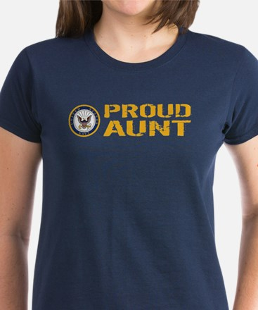 U.S. Navy: Proud Aunt Women's Dark T-Shirt