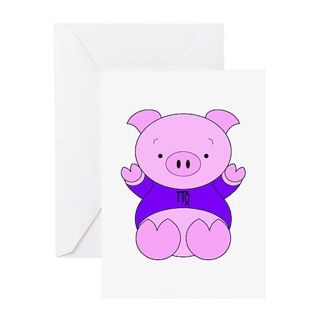 Virgo Cartoon Pig Greeting Card