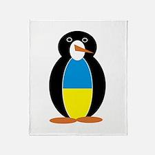 Penguin Flag Ukraine Throw Blanket