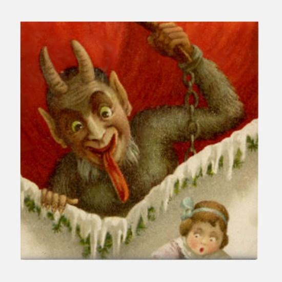 Christmas Krampus & Naughty Girl Tile Coaster
