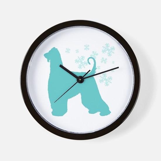 Afghan Hound Snowflake Wall Clock