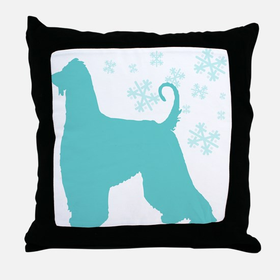 Afghan Hound Snowflake Throw Pillow