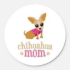 Chihuahua Mom Round Car Magnet