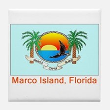 Marco Island FL Flag Tile Coaster