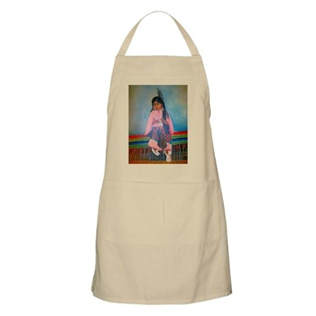 American Indian Girl in Pink BBQ Apron