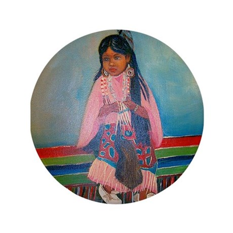 """American Indian Girl in Pink 3.5"""" Button"""