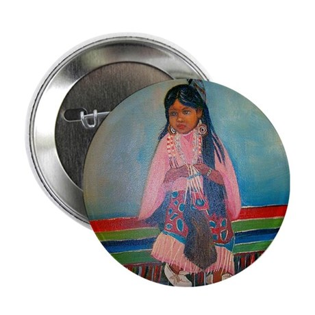 """American Indian Girl in Pink 2.25"""" Button"""
