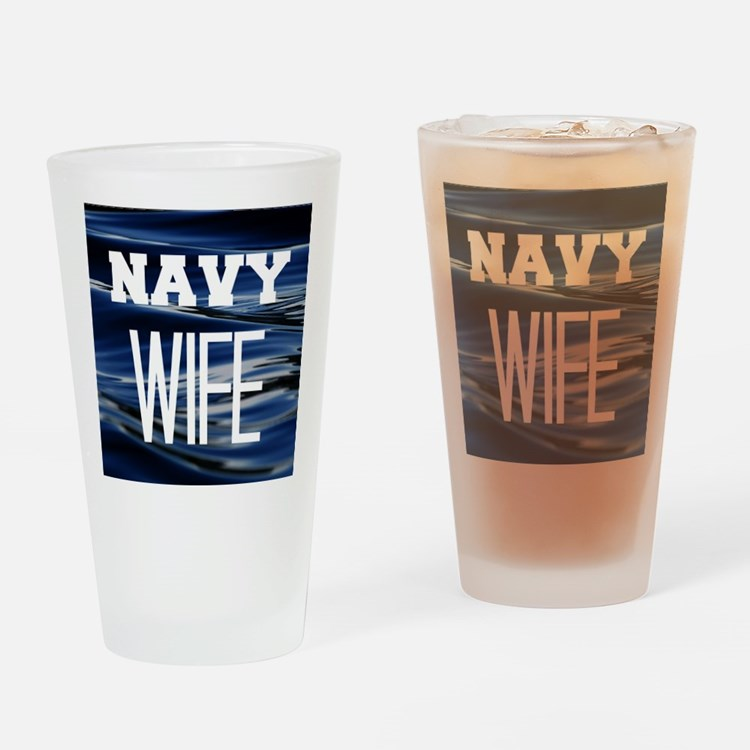 Navy Wife Drinking Glass