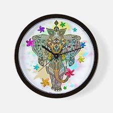 Elephant Zentangle Doodle Art Wall Clock