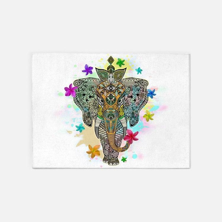 Elephant Zentangle Doodle Art 5'x7'Area Rug