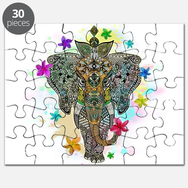 Elephant Zentangle Doodle Art Puzzle