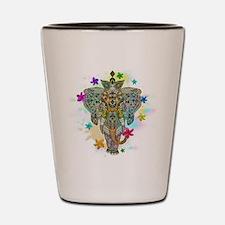 Elephant Zentangle Doodle Art Shot Glass