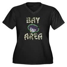 BAY AREA BIZZNESS Women's Plus Size V-Neck Dark T-