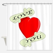 Love You Heart Shower Curtain