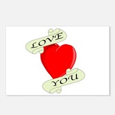 Love You Heart Postcards (Package of 8)