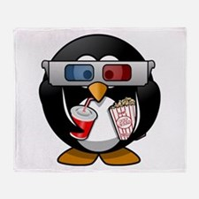 3D Cinema penguin Throw Blanket