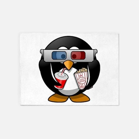 3D Cinema penguin 5'x7'Area Rug