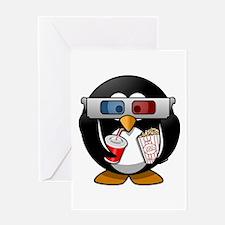 3D Cinema penguin Greeting Cards