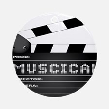 Musical Movie Clapperboard Round Ornament