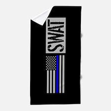 Police: SWAT (Black Flag Blue Line) Beach Towel