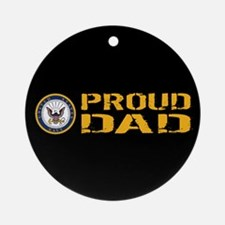 U.S. Navy: Proud Dad (Black) Round Ornament