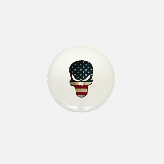 Punishing Skull with American Flag Mini Button