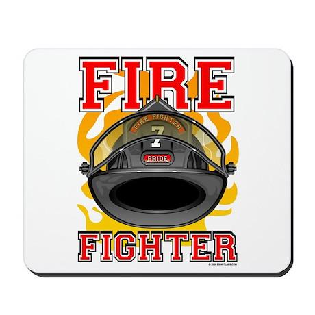 Fire Fighter - Black Helmet Mousepad