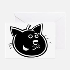 Unique Black cat face Greeting Card
