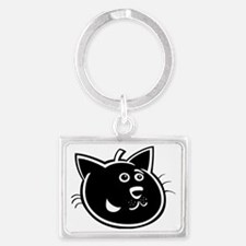 Funny Black cat face Landscape Keychain