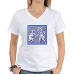 KITTY CATS IN BLUE Women's V-Neck T-Shirt