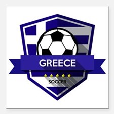 "Cool Greece soccer Square Car Magnet 3"" x 3"""